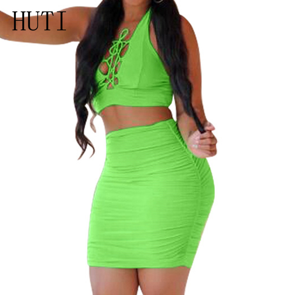 HUTI Women Cross Lace up Two Pieces Short Dress Night Club Summer Sexy Hollow Out Bandage Bodycon Pencil Dresses Plus Size XXXL in Dresses from Women 39 s Clothing