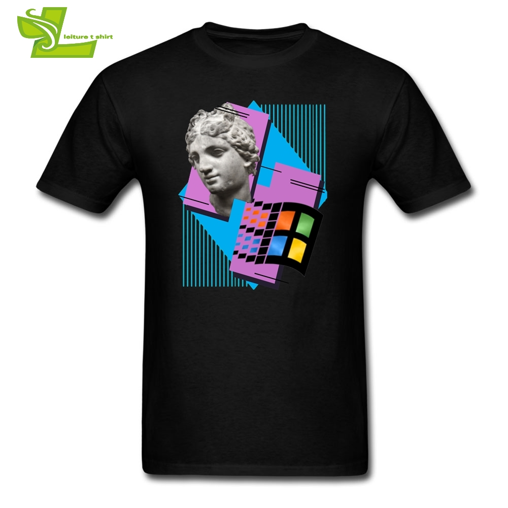 T     Shirt   Vaporwave Windows 95 1995 Retro Music Cool   T  -  Shirts   Adult Crew Neck Tees New Arrival Short Sleeved Men's Cool O Neck