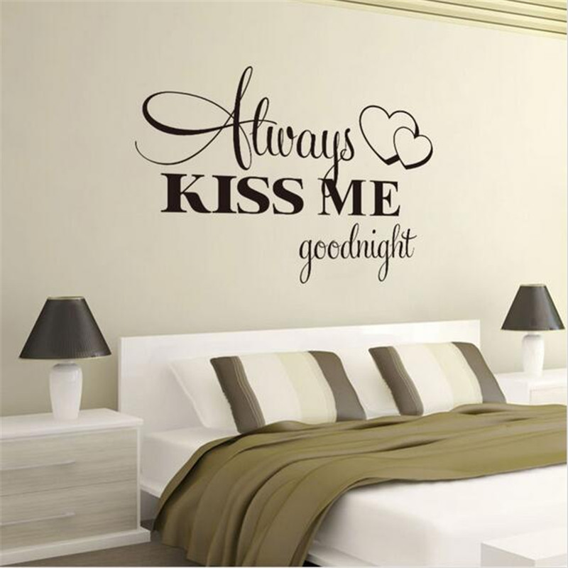T06014 Romantic Mural Love Vinyl Wall Stickers Bedroom Quotes decals Always Kiss Me Goodnight Home Decoration Wall Art Decor