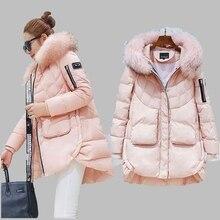 Women Winter Coat 2017 Korean Big Raccoon Fur Collar Hooded Down Jacket Medium long White Duck Down Jacket Large size Coat AB297