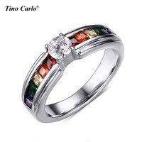 4mm Cubic Zirconia Con Arcobaleno Strass Anelli Anello Lesbiche Orgoglio Parata Lesbica Orgoglio Wedding Ring SIZE 5 ~ 11 PR-1008