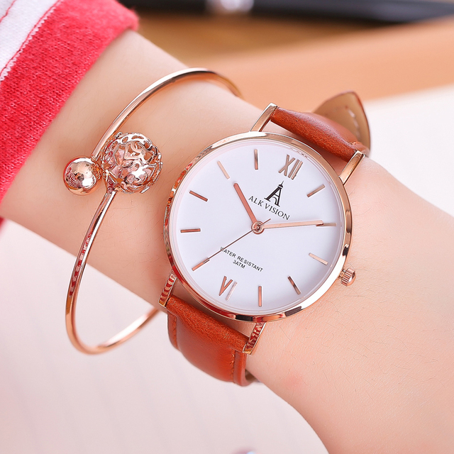 ALK lady watches 2018 luxury women ladies watch bracelet rose gold female dress
