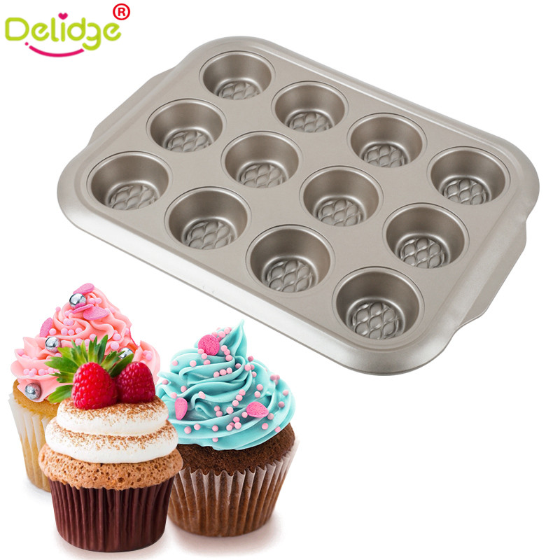 Delidge  1 Pc 6 Holes & 12 Holes Cupcake Baking Pan Metal Mini Round Muffin Pan Form Non-Stick Cupcake Baking Mold