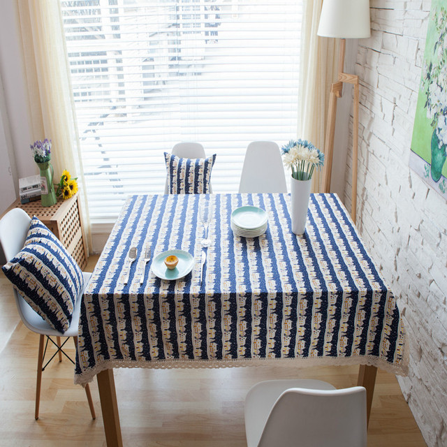 tablecloth european style house printed blue tablewear square rectangle party banquet cafe home decor dust cover