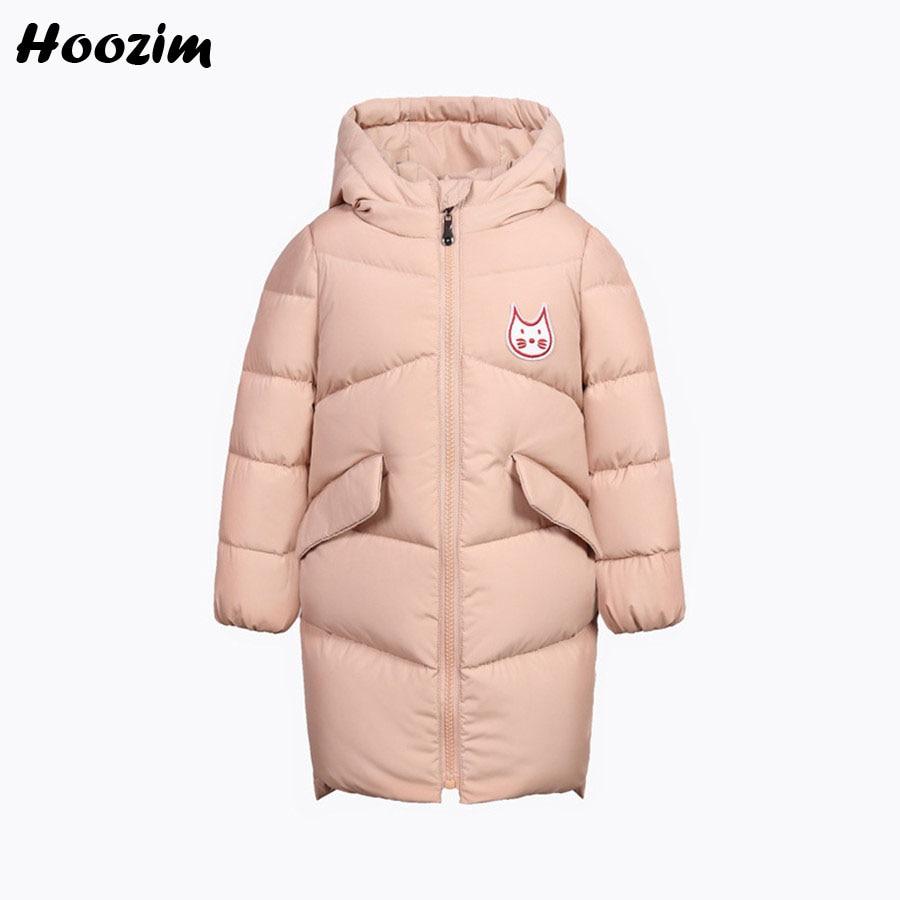 Winter White Duck Down Jacket For Girls 6 7 8 Years Fashion Kids Clothes Cute Pink Cartoon Coat Children Autumn Long Boy