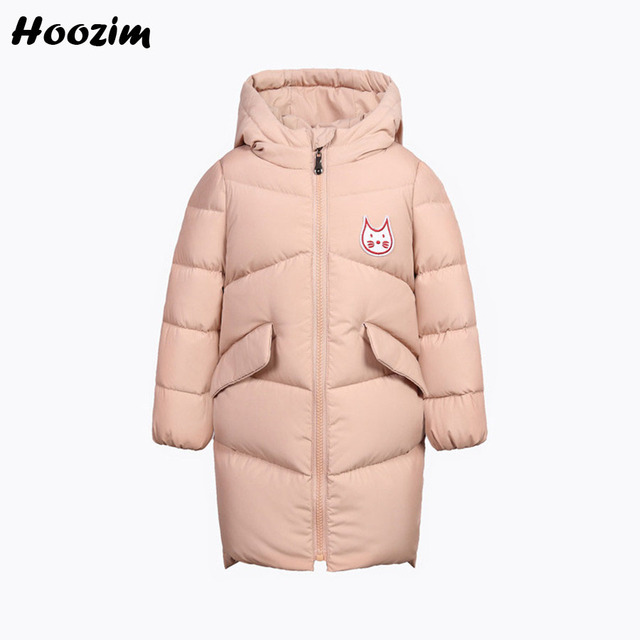 Best Offers Winter White Duck Down Jacket For Girls 6 7 8 Years Fashion Kids Clothes Cute Pink Cartoon Coat Children Autumn Jacket Long Boy
