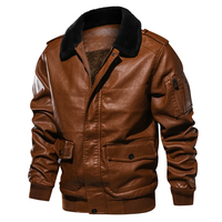 Vintage Winter Leather Jacket Men Thick Warm Wool Liner Windbreaker Leather Coat Men Fur Collar PU Outerwear Men EU Size S XXL