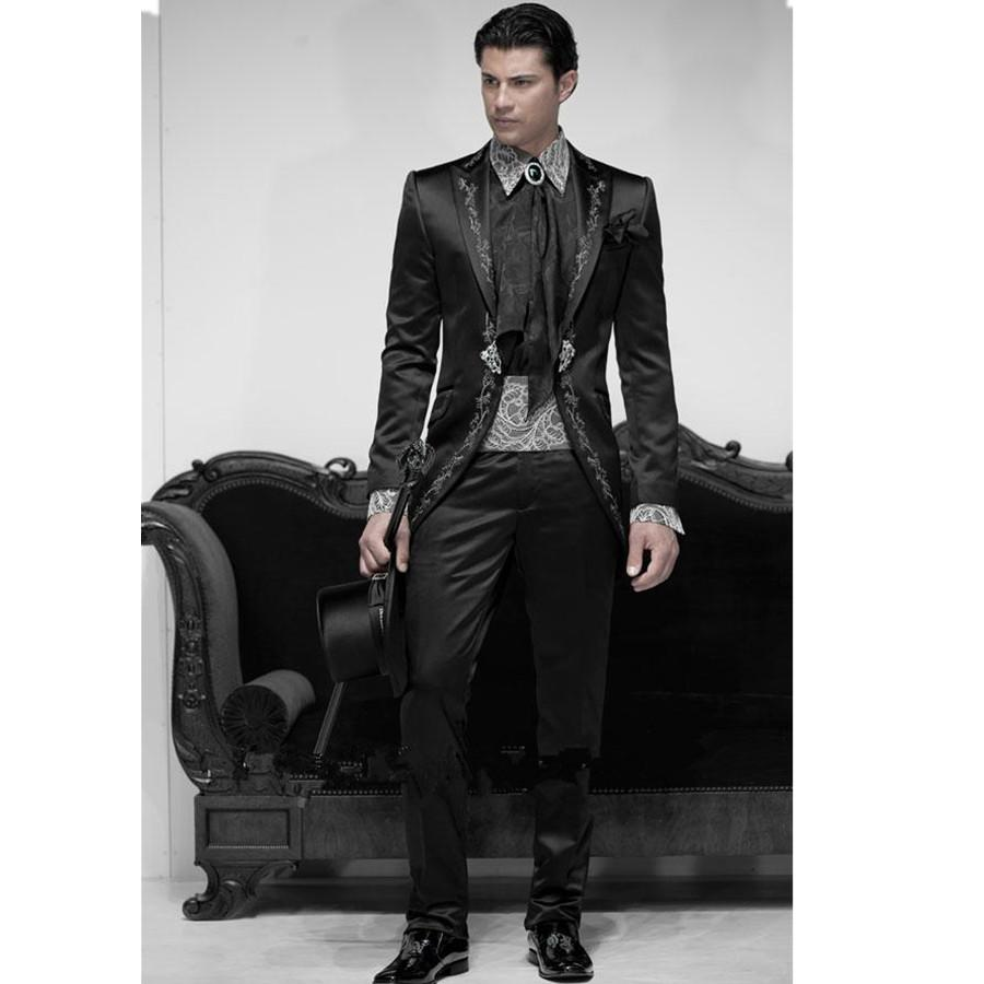 2018 Black Business gentleman groom wedding tuxedo suit piece Prom ...