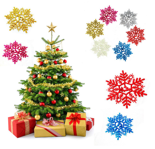 new 6pcs classic multicolor snowflakes ornaments christmas tree decorations holiday party home xmas decoration diy hanging - Classic Christmas Tree Decorations