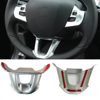 Car Steering Wheel Cover Chrome Sequins Trim Stickers Decorative Accessories Styling For PEUGEOT 308 2014 2015