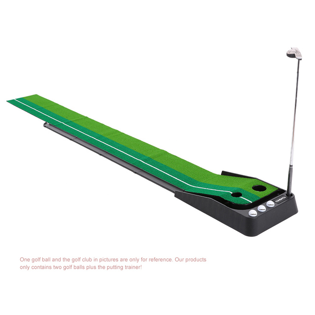 TOMSHOO Indoor 3m Golf Putting Trainer Swing Trainer with Double Holes Gravity Ball Return Alignment Indicator for Beginners