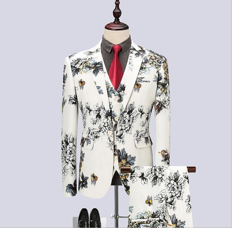 FOLOBE 2019 Fashion Suit Men Slim Fit Flower Print Mens Suit 3 Piece Luxury Wedding Party Stage Costumes Men(Jacket+Pants+Vest)
