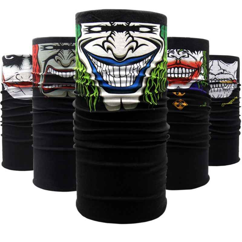 24x49cm Unisex motocicleta diadema mascarada Halloween fantasma Joker Magic Bandana cuello bufanda más cálido a prueba de viento cara escudo máscara
