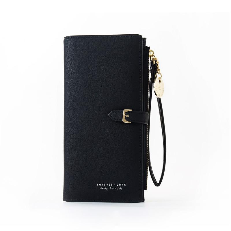 Браслет женский длинный кошелек Много отделов женские кошельки клатч Дамский кошелек на молнии карман для телефона держатель для карт дамские Carteras - Цвет: Black