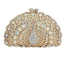 Роскошный кристалл вечерняя Павлин сцепления алмаз партия Кошелек Pochette Вечер Женская вечерняя свадебная сумочка клатч(China)