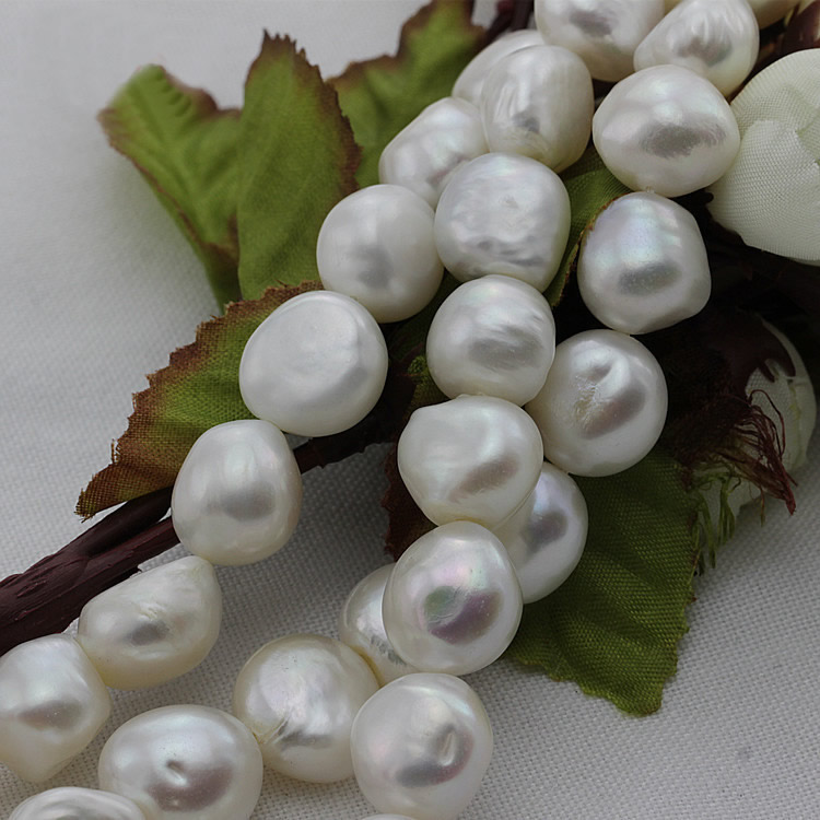 Perles de culture d'eau douce Baroque, bijoux d'amour, naturel, blanc, 11-15mm, trou: environ 0.8mm, environ 15.5 pouce brin