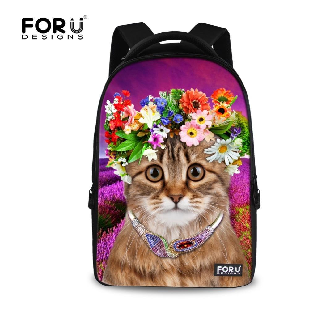 ФОТО Large College Student Girls Laptop Backpack Mochila 3D Animal Flower Cat Printing Backpack for Children Backpack Travel Rucksack