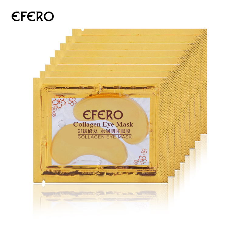 efero Gold Eye Mask Moisturizing Eye Patch Sheet Masks Gold Crystal Collagen Eye Mask Patches for the Eyes Care Gold Mask 5Packs