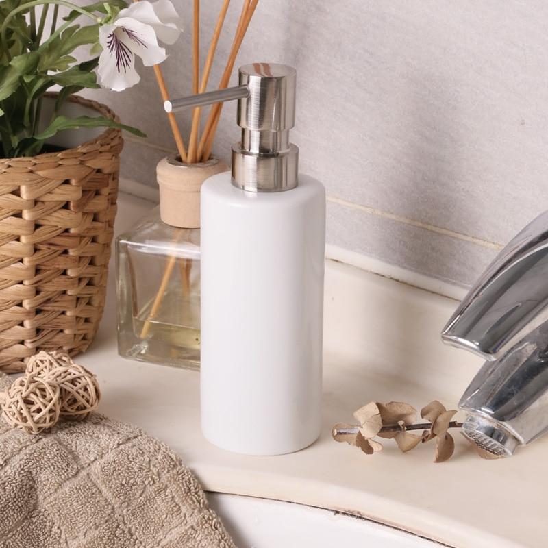 Hand sanitizer bottle Empty lotion bottles apllying soap bottle sub-bottling shampoo shower gel bath products ceramic white