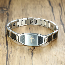 Stainless Steel Carbon Fiber Bangles Man Knights Templar Cross In Sliver Color Watch Brands Magnetic Health Thready Bracelet Men