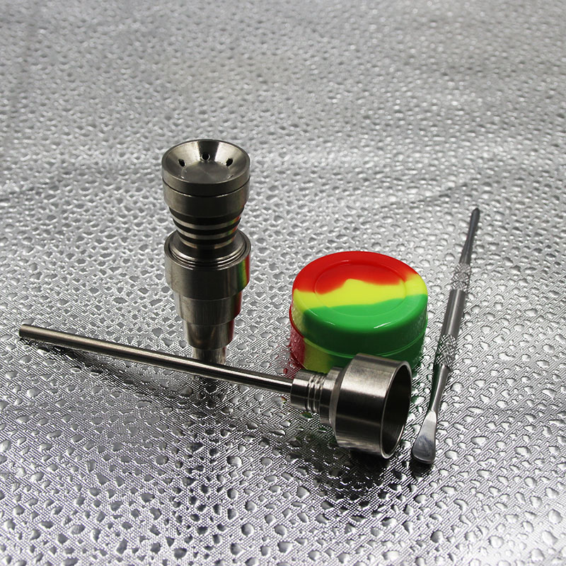10 14 18mm male female Gr2 Titanium Nail Carb Cap Dabber dab rig silicone jar for Glass Smoking Water Pipes in Tobacco Pipes Accessories from Home Garden