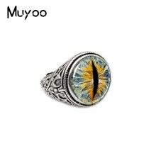 Стеклянный круглый кабошон с глазами дракона аксессуары для мужчин и женщин регулируемое кольцо