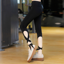 Women Yoga Pants Sport Leggings Fitness Cross Yoga High Waist Ballet Dance Tight Bandage Yoga Cropped Pants Sportswear K3037