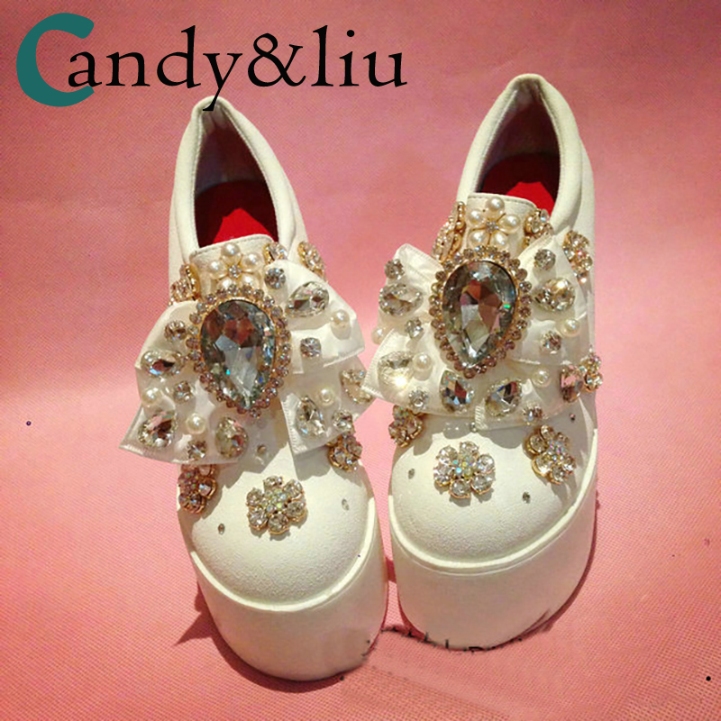 White Crystal Butterfly Platform Shoes Pearls Bowknot Rhinestones Slip on Women Shoesl Party Wedding Bridesmaid heel