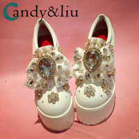 White Crystal Butterfly Platform Shoes Pearls Bowknot Rhinestones Slip on Women Shoesl Party Wedding Bridesmaid heel lifted