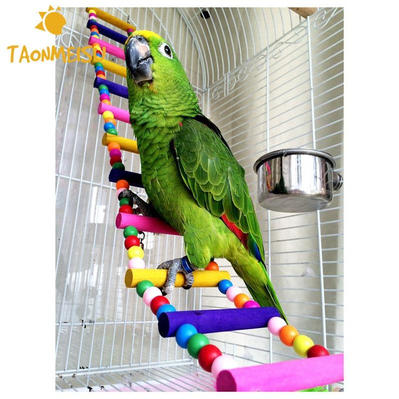 12 lépés színes pet madár fa létrát mászni játékok papagáj kötél ara papagáj harapok kábelköteg Cockatiel Budgie