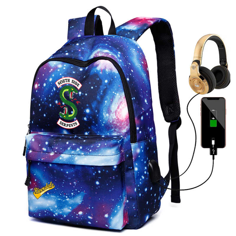 Mochila Women Riverdale Galaxy USB Travel Backpack School Bags for Women Girls Canvas Travel Shoulder Bag Laptop School Bag