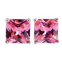 Women Earrings New Fashion Endearing Princess Cut  Pink Topaz  Silver Stud Earring  Jewelry Free Shipping Wholesale