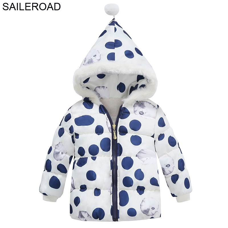SAILEROAD 2-4Year Winter Baby Girls Cotton-Padded Jacket Coat Cartoon Children Kids Outerwear Down Coat Cotton Warm Girl's Coat thicken in the long paragraph down cotton padded 2018 girls jacket new korean female baby winter coat children s coat mf 28