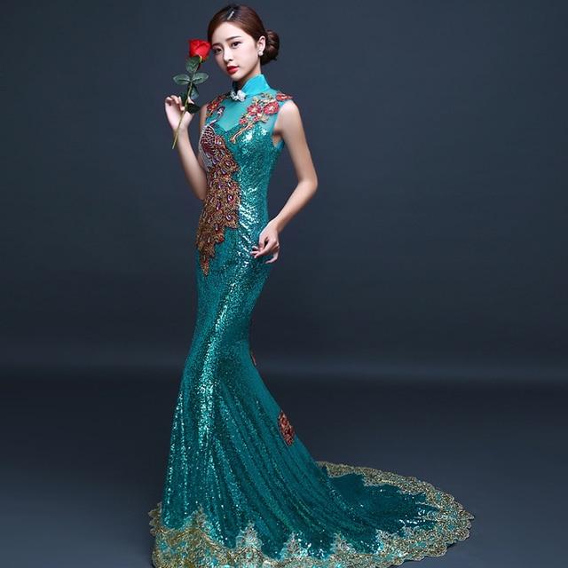 032a9280c Vestido de noche verde esmeralda largo turquesa vestidos vestido chino  bordado lentejuelas espalda descubierta Cheongsam cola