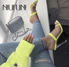 New Arrival Transparent Crystal Thick High Heels With Half Slippers Women's Sandals 2019 Fashion Sexy Candy Color Women's Shoes цена