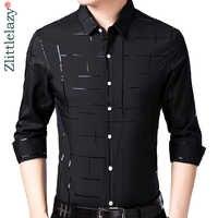 2019 marca casual plaid lujo más tamaño de manga larga slim fit hombres camisa primavera vestido social camisas hombres moda jersey 41607