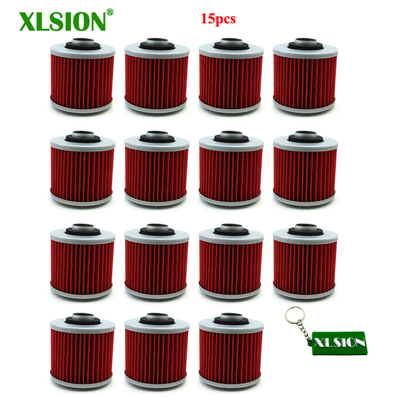 XLSION 15pcs Oil Filters For Yamaha YFM700R Raptor XVS650 XV250 XV700 SR400 XT660R TDM900 MT03 SRX600