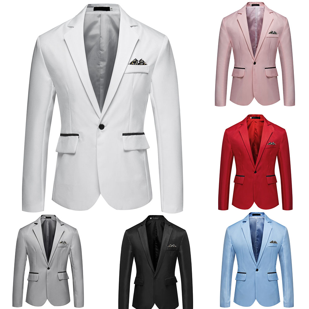Males Blazer Jacket Good Informal Style Slim Match Males Go well with Jacket Single Button Mens Blazer Stable Male Go well with Coat Asian Dimension M-3Xl