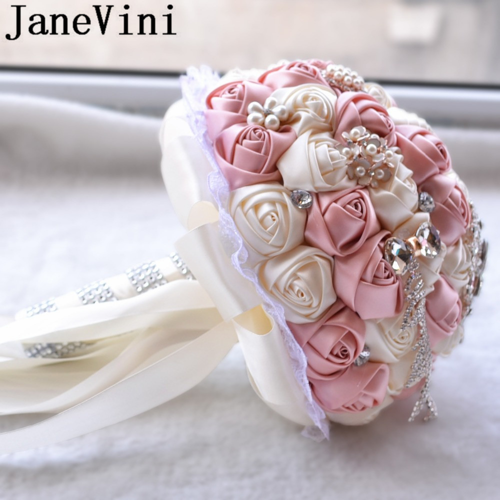 Купить с кэшбэком JaneVini Mint Satin Bride Flower Bouquet Bridal Jewelry Sparkly Crystals Stones Lace Edge Bead Wedding Bouquet Rose Rosse Purple