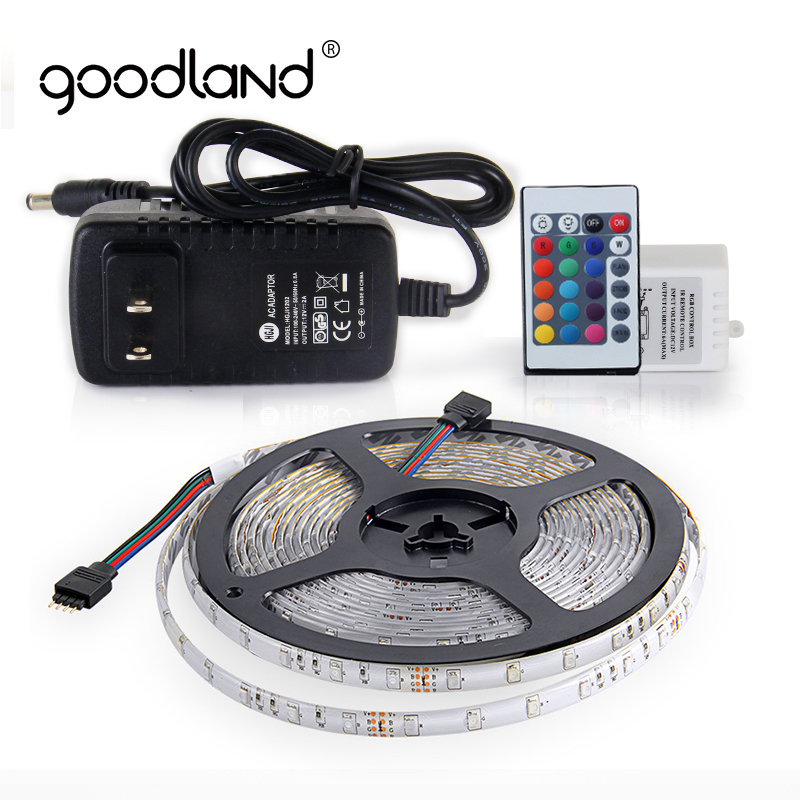 Goodland LED Strip Light SMD2835 RGB LED Tape 5M Waterproof LED Ribbon 12V 2A Power Adapter with Remote Controller Neon Ribbon crane embroidery ribbon tape detail jacket