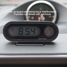 Car Time Clock Display with Digital Thermometer
