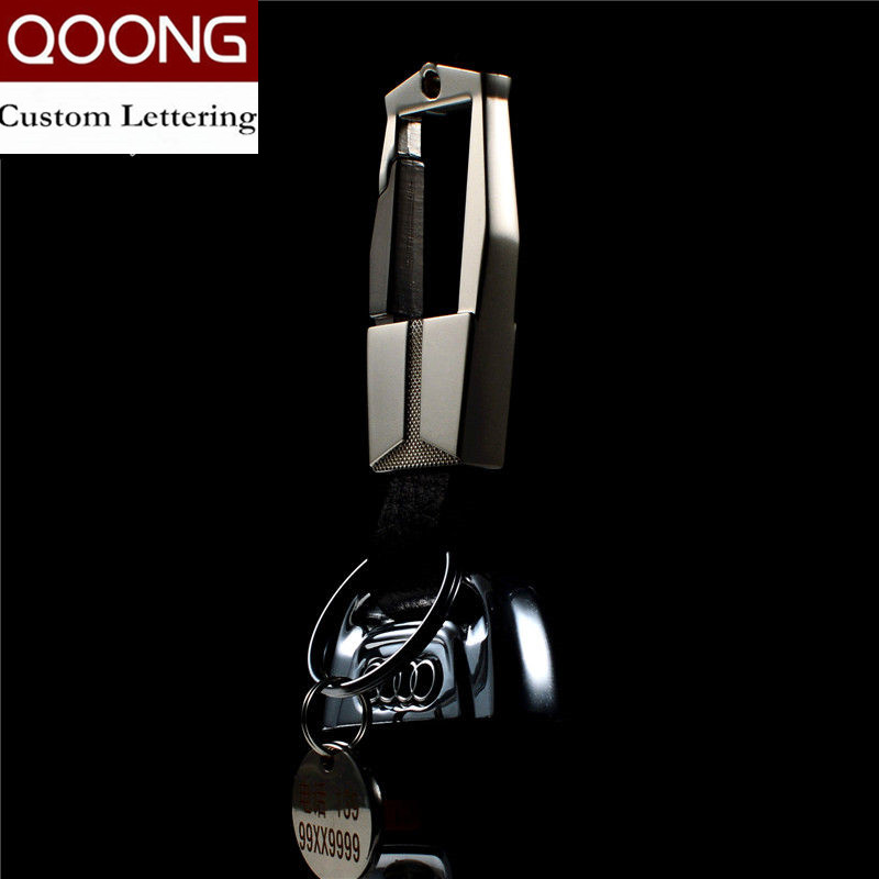 QOONG Fashion Men Keychain Car Keyring Шынайы Былғары Кілттер тізбегі Кілттер Ring Metal Auto Key Holder For Men Ерекше Lettering Y07