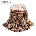 Jaquetas de Algodão Meninas Do Bebê inverno Quente Lolita Estilo Leopardo Impresso Casaco Crianças Infantil Outerwears Grossas Roupas de Bebê GH296