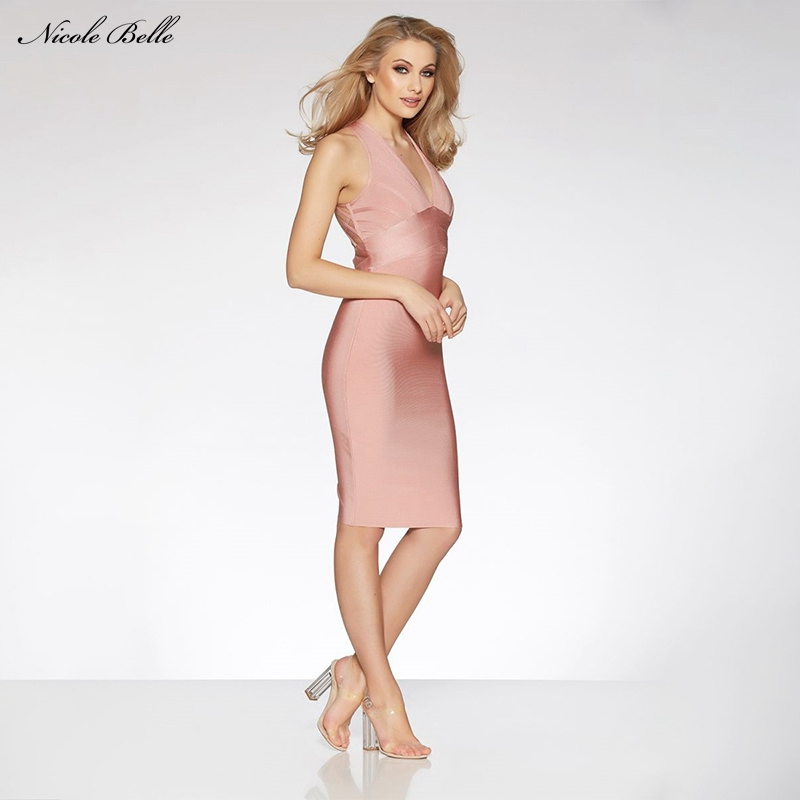 Belle En Pink Bandage Sexy Nu Profonde Robes Rose De Gros 2017 Femmes Dos cou Élégante D'été Nicole Robe Mode Nouveau V Soirée AwqdHz1H