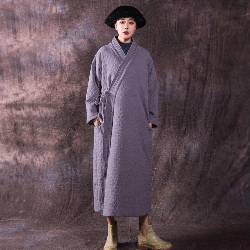 Johnature Women Belt Parkas Vintage Cotton Linen Coats Chinese Style Autumn Winter Women Cloths 2019 New