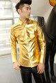 Canto de ouro dos homens casual dos homens slim fit camisa de manga Antifouling e repelente de água