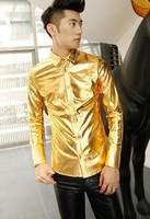 Singing Performances Gold Fashion Mens Shirts Casual Shirt Men Slim Fit Shirt Sleeve Dress Shirt Antifouling
