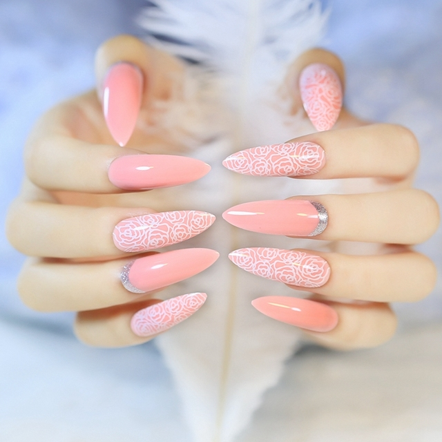 Fairy Style Super Long Acrylic Nail Tips Bent Pointed Rose Flower Drawing Silver Moo False Nails