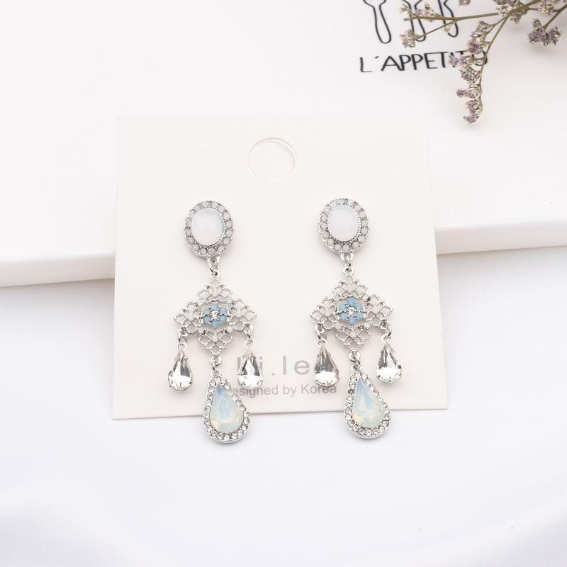 MENGJIQIAO New Baroque Style Opal Stone Water Drop Crystal Tassel Earrings For Women Vintage Statement Flower Long Pendientes 3