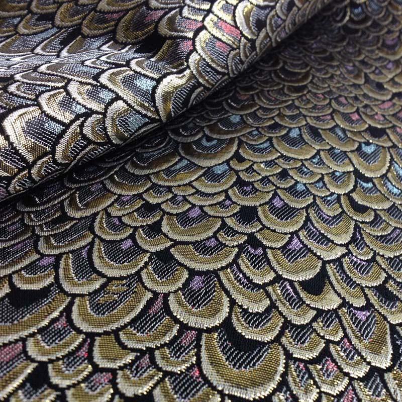 1 Yard 91 * 150cm, Metallic Peacock Jacquard Brocade Fabric, Brand Fabric, Skinnende Vev for Dress, Sy Patchwork Material Tecido